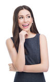 Het aantrekkelijke jonge vrouw glimlachen Stock Foto