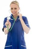 Het aantrekkelijke Jonge Vrouw Stellen als Arts of Verpleegster Stock Afbeelding