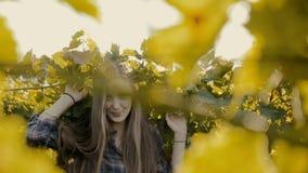 Het aantrekkelijke jonge vrouw stellen naast de wijnstok stock video