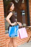 Het aantrekkelijke jonge vrouw winkelen royalty-vrije stock afbeelding