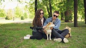 Het aantrekkelijke meisje en haar eigenaars van de vriend houdende van hond tikken hun huisdier en spreken het rusten in het park stock videobeelden