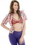 Het aantrekkelijke Sexy Jonge Vrouw Stellen in Pin Up Style Stock Foto's