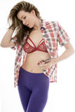 Het aantrekkelijke Sexy Jonge Vrouw Stellen in Pin Up Style Royalty-vrije Stock Foto's