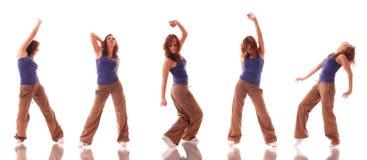 Het aantrekkelijke tiener dansen over witte achtergrond Stock Afbeeldingen