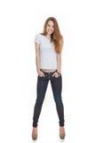 Het aantrekkelijke tienermannequin stellen Stock Foto