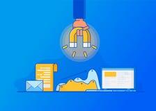 Het aantrekken van online klanten Naderend Op de markt brengend vector illustratie