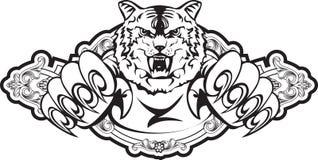Het aanvallen van tijger in frame Royalty-vrije Stock Afbeeldingen