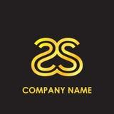Het aanvankelijke brievenss elegante goud wees embleem op malplaatje in kleine letters op zwarte achtergrond Royalty-vrije Stock Afbeelding