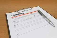 Het aanvraagformulier van de autoverzekering Stock Afbeelding