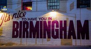 Het is aardig om u in Birmingham te hebben stock afbeelding