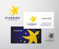 Het Abstract Vectorembleem van de stervogel en Adreskaartje Royalty-vrije Stock Foto's