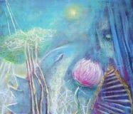 Het abstracte acryl schilderen draak en meisje Stock Fotografie