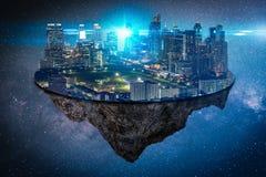 Het abstracte beeld van het futuristische cityscape eiland of de ruimtekolonie op een andere ruimte, het concept toekomst, fantas stock foto