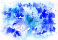 Het abstracte blauwe achtergrond de winterwaterverf schilderen vector illustratie