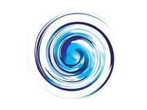 Het abstracte blauwe embleem van de waterwerveling vector illustratie
