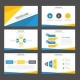 Het abstracte Blauwe gele infographic element en pictogram vlakke ontwerp van presentatiemalplaatjes plaatste voor het pamfletweb Royalty-vrije Stock Fotografie
