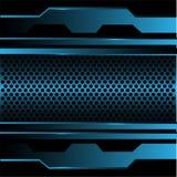 Het abstracte blauwe metaal van het cirkelnetwerk in zwarte ontwerp moderne futuristische achtergrondtextuurvector Royalty-vrije Stock Foto