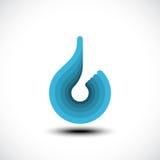 Het abstracte blauwe pictogram van de waterdaling Stock Afbeeldingen