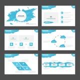 Het abstracte Blauwe van het malplaatjeinfographic van de waterpresentatie de elementen vlakke ontwerp plaatste voor het pamflet  Stock Afbeelding