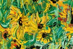 Het abstracte bloem schilderen voor achtergrond Stock Foto