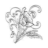 Het abstracte bloembeeldverhaal, vector zwart-witte hand-drawn contour, schetst zwart-wit illustratie, die boek kleuren stock illustratie
