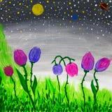 het abstracte bloemen schilderen stock foto's