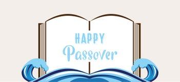 Het abstracte boek van het passoververhaal haggadah splitted over rode overzees het verhaal van de vlucht van Jood van Egypte stock illustratie