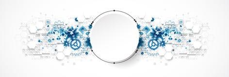 Het abstracte concept van de cirkeltechnologie Kringsraad, hoge computer stock illustratie
