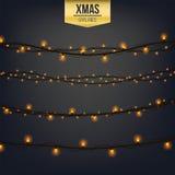 Het abstracte creatieve die licht van de Kerstmisslinger op achtergrond wordt geïsoleerd malplaatje Vectorillustratie clipart kun Royalty-vrije Stock Afbeelding