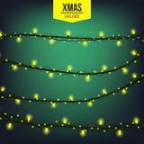Het abstracte creatieve die licht van de Kerstmisslinger op achtergrond wordt geïsoleerd malplaatje Vectorillustratie clipart kun Stock Foto