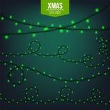 Het abstracte creatieve die licht van de Kerstmisslinger op achtergrond wordt geïsoleerd malplaatje Vectorillustratie clipart kun Royalty-vrije Stock Fotografie