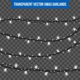 Het abstracte creatieve die licht van de Kerstmisslinger op achtergrond wordt geïsoleerd malplaatje Vectorillustratie clipart kun Royalty-vrije Stock Afbeeldingen