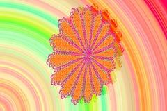 Het abstracte 3D beeld met een kleurrijke achtergrond van kleurrijke gevormde fractal elementen in de vorm van een Madeliefje blo stock illustratie