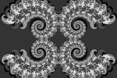 Het abstracte 3D beeld met een volume over een grijze achtergrond van fractal luxe vormde elementen, moderne modieuze fantasie sc stock illustratie