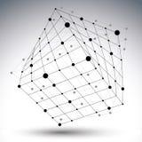 Het abstracte 3D cijfer van het structuur veelhoekige vectornetwerk, contrast Stock Afbeeldingen