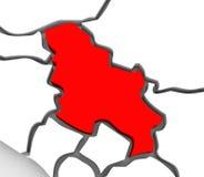 Het Abstracte 3D Continent van de Kaart Zuidelijke Midden-Europa van Servië vector illustratie