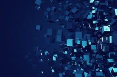 Het abstracte 3D Teruggeven van Chaotische Kubussen Stock Foto