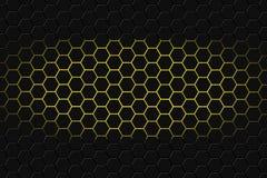 Het abstracte 3d teruggeven van futuristische oppervlakte met zeshoeken Donkere achtergrond yellowsci-FI stock foto's