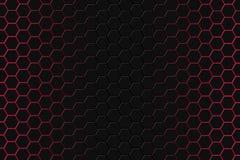 Het abstracte 3d teruggeven van futuristische oppervlakte met zeshoeken Donkerrode achtergrond sc.i-FI royalty-vrije stock foto's
