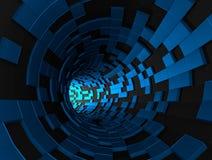 Het abstracte 3d teruggeven van futuristische tunnel Stock Foto's
