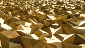 Het abstracte 3d teruggeven van gouden oppervlakte Futuristische Achtergrond Stock Fotografie