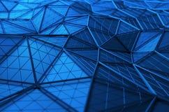 Het abstracte 3D Teruggeven van Lage Polyoppervlakte Stock Foto's