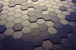 Het abstracte 3D Teruggeven van Oppervlakte met Zeshoeken Stock Afbeeldingen