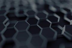 Het abstracte 3D Teruggeven van Oppervlakte met Zeshoeken Stock Afbeelding