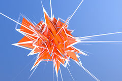 Het abstracte 3d teruggeven van oranje energieexplosie in hemel royalty-vrije stock foto