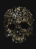 Het abstracte 3d teruggeven van schedel met gele kleurencirkels Stock Afbeeldingen