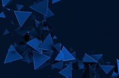 Het abstracte 3D Teruggeven van Vliegende Driehoeken Stock Afbeelding
