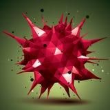 Het abstracte 3D voorwerp van het structuur veelhoekige netwerk, rood misvormd fig. Royalty-vrije Stock Foto