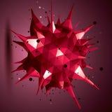 Het abstracte 3D voorwerp van het structuur veelhoekige netwerk, rood misvormd fig. Royalty-vrije Stock Afbeeldingen
