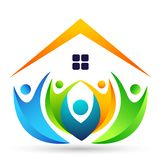 Het abstracte dak van het de familiehuis van onroerende goederenmensen en het vector het elementenpictogram van het huisembleem o stock illustratie